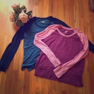 Two Raglan Tops: Blue and Pink